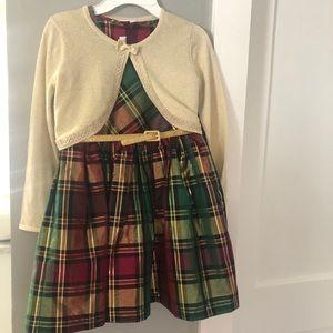 Bonnie Jean Holiday Glitter Plaid Dress w Cardigan